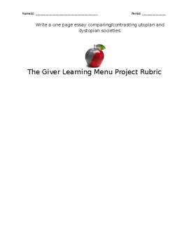 The Giver Learning Menu Project