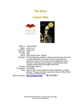 The Giver: Lesson Plans for Middle School