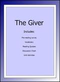 The Giver Lesson Plans for Novel Unit(quizzes,vocab,pre-read,activities,etc.)