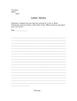 The Giver Letter Home Writing Assignment