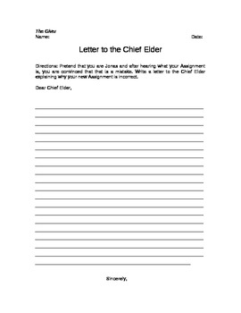 The Giver Letter to the Chief Elder Writing Assignment