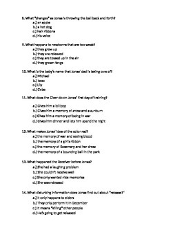 The Giver Lois Lowry Test Assessment Literature