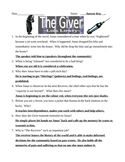 The Giver - Lois Lowry - Test and Answer Key