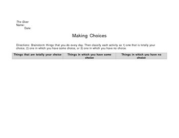 The Giver Making Choices Activity