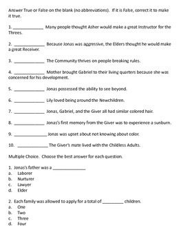 The Giver - Middle of the Book Test with Answer Key