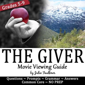 The Giver Movie Viewing Guide, Questions, Prompts, Sub Plan, Media, End of Year
