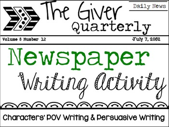 The Giver Novel Study - Lois Lowry - Writing Activities -