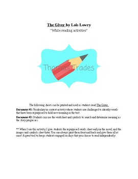 The Giver- Novel Activities