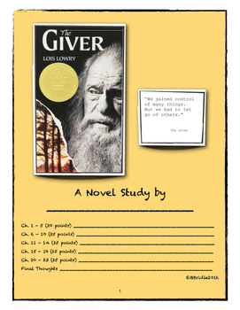 The Giver - Novel Study Packet