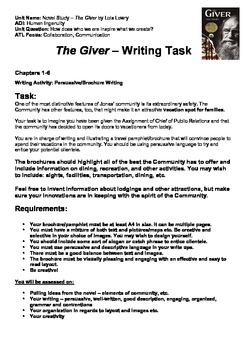 THE GIVER - Persuasive Writing Task - Travel Brochure