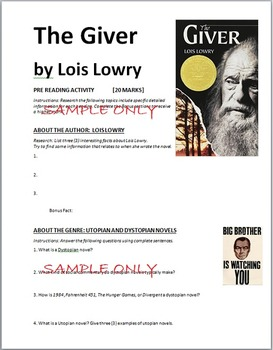 The Giver Pre-Reading Activity: Web Quest