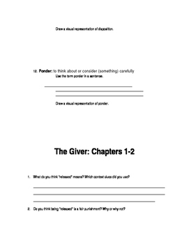 The Giver Pre-reading - Chapter 2