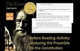 The Giver - Preamble to the Constitution Before Reading Activity