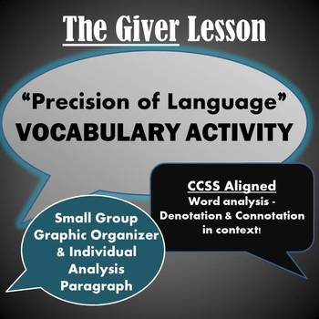 "The Giver: ""Precision of Language"" Vocabulary Activity"