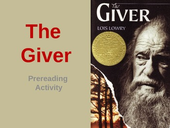The Giver Prereading Activity