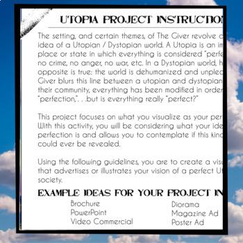 "The Giver Novel Study Activity: ""MY UTOPIA"""