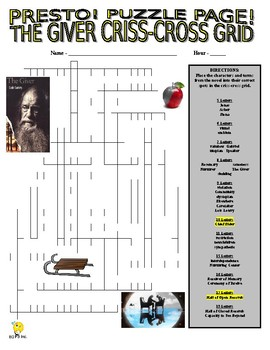 The Giver Puzzle Page (Wordsearch and Vocabulary Criss-Cross)