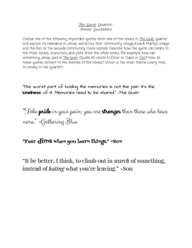 The Giver Quartet Potent Quotables Writing Activity