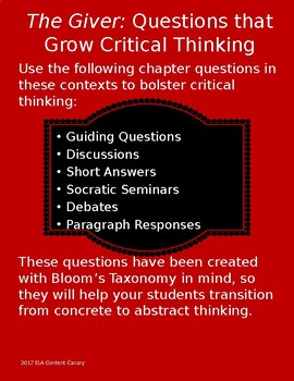The Giver: Questions that Grow Critical Thinking