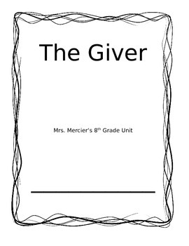 The Giver Quick Unit