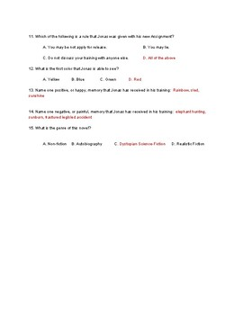 The Giver Quiz Ch. 1-14 with Answer Key