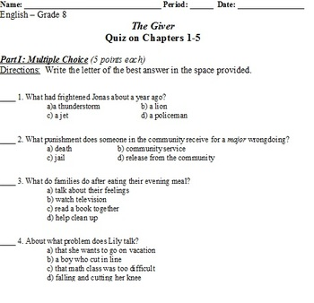 The Giver - Quiz on chapters 1-5
