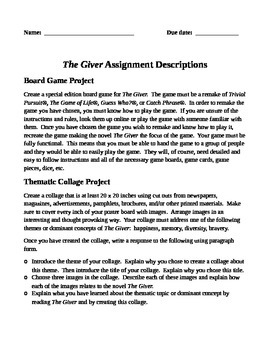 The Giver Reading Project Packet