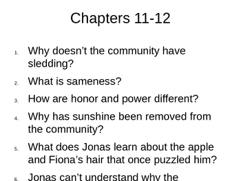 The Giver Reading Questions and Summary