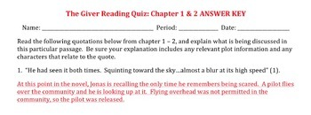 GIVER READING QUIZZES