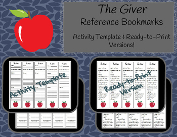 The Giver Reference Bookmarks