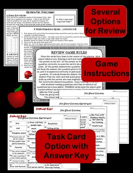 The Giver Review Game or Task Cards