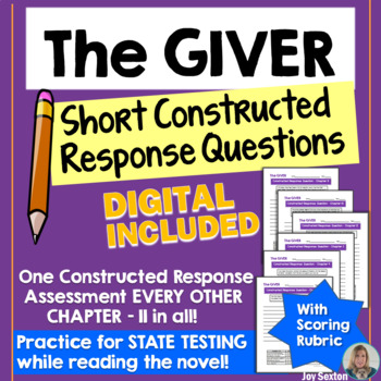 The GIVER - Short Constructed Response Questions - Common Core