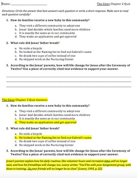 The Giver Individual Chapter Quizzes (1-23)