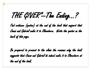 """""""The Giver"""" Small/Whole Group Discussion of Ending"""