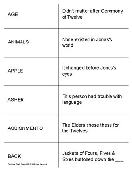 The Giver Study Flash Cards