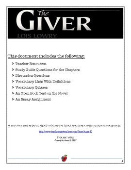 The Giver: Full Study Guide