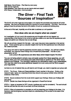 "THE GIVER - Summative Task - ""Sources of Inspiration"""