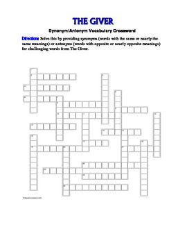 The Giver: Synonym/Antonym Vocabulary Crossword--Use with
