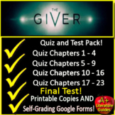 The Giver Test and Quiz Bundle Common Core Aligned