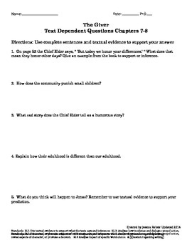 The Giver Text Dependent Questions Ch 7-8