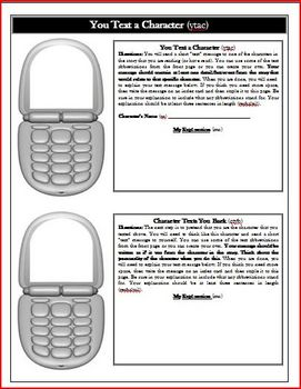 The Giver Text Message Reading Activity