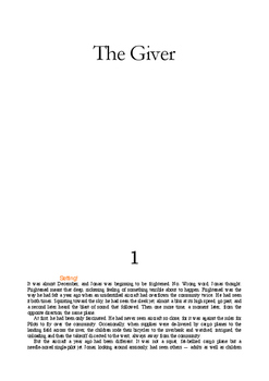 The Giver - Text PDF and Close Reading Packet