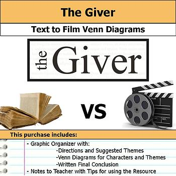 The Giver - Text to Film Venn Diagram & Written Conclusion