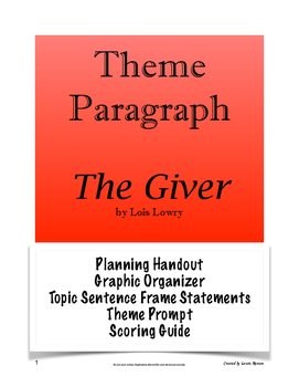 The Giver - Theme Paragraph; Secondary Language Arts