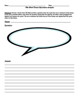 The Giver Theme Quote Analysis Handout (PDF)