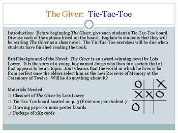 The Giver:  Tic-Tac-Toe Board