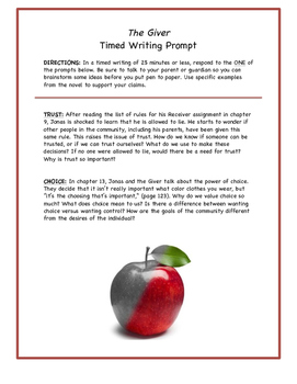 The Giver- Timed Writing Activity