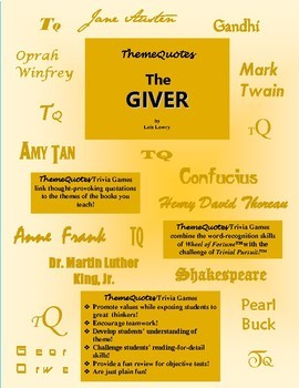 The Giver edition of ThemeQuotes Trivia Games: Created for Classroom Use!