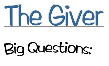 The Giver  UBD big questions bulletin board