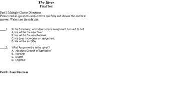 The Giver Unit Exam